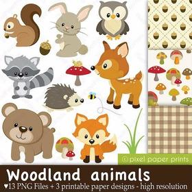 Kit Digital Animais Da Floresta Imagens Clipart Cod382