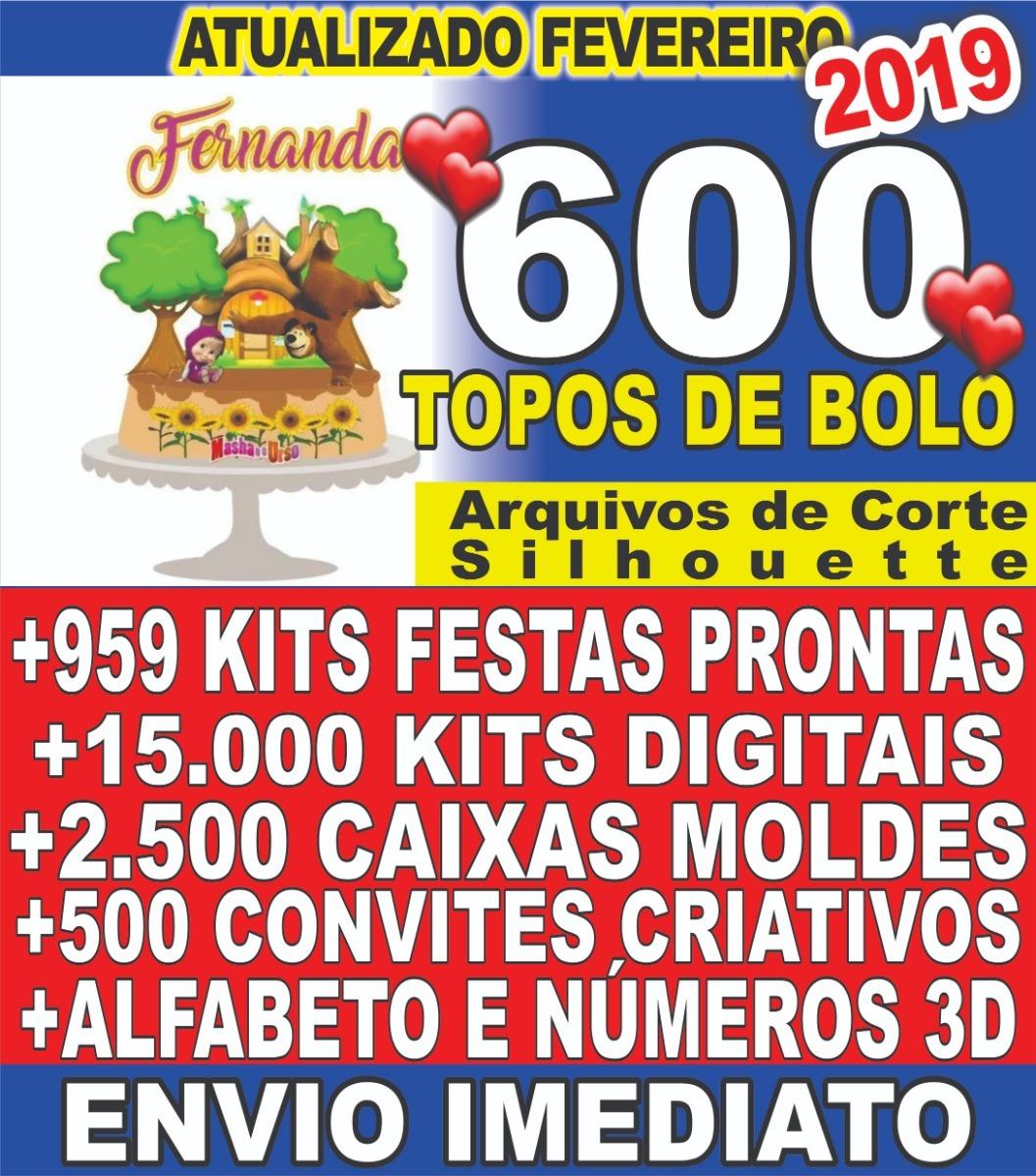 c9fd75b69d4fb Kit Digital Arquivos 600 Topos Bolo Silhouette 959kits Festa - R  21,60 em  Mercado Livre