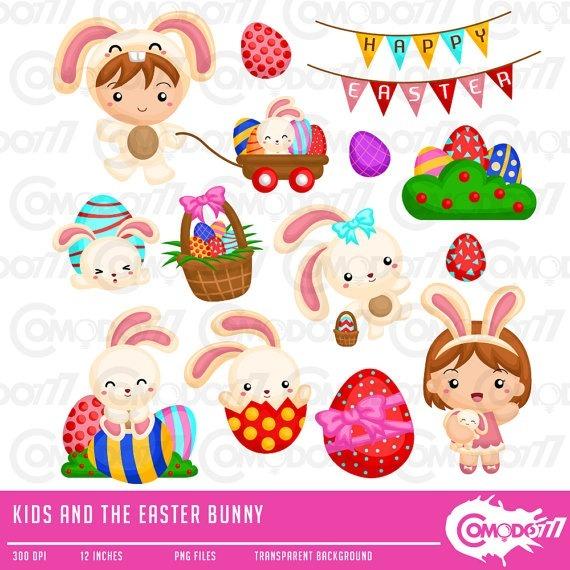 f3c761160 Kit Digital Comodo Crianças Páscoa Coelhinho Cute Clipart 04 - R  9 ...