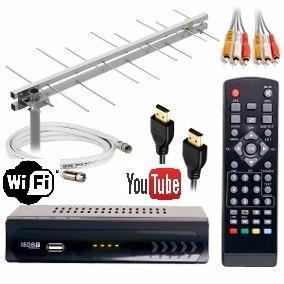 kit digital conversor wifi+antena externa+10m de cabo+mastro