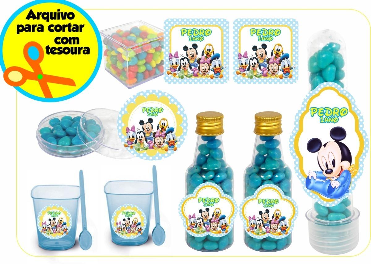 Kit Digital De Rotulos Personalizados Mickey Baby Turma R 24 98