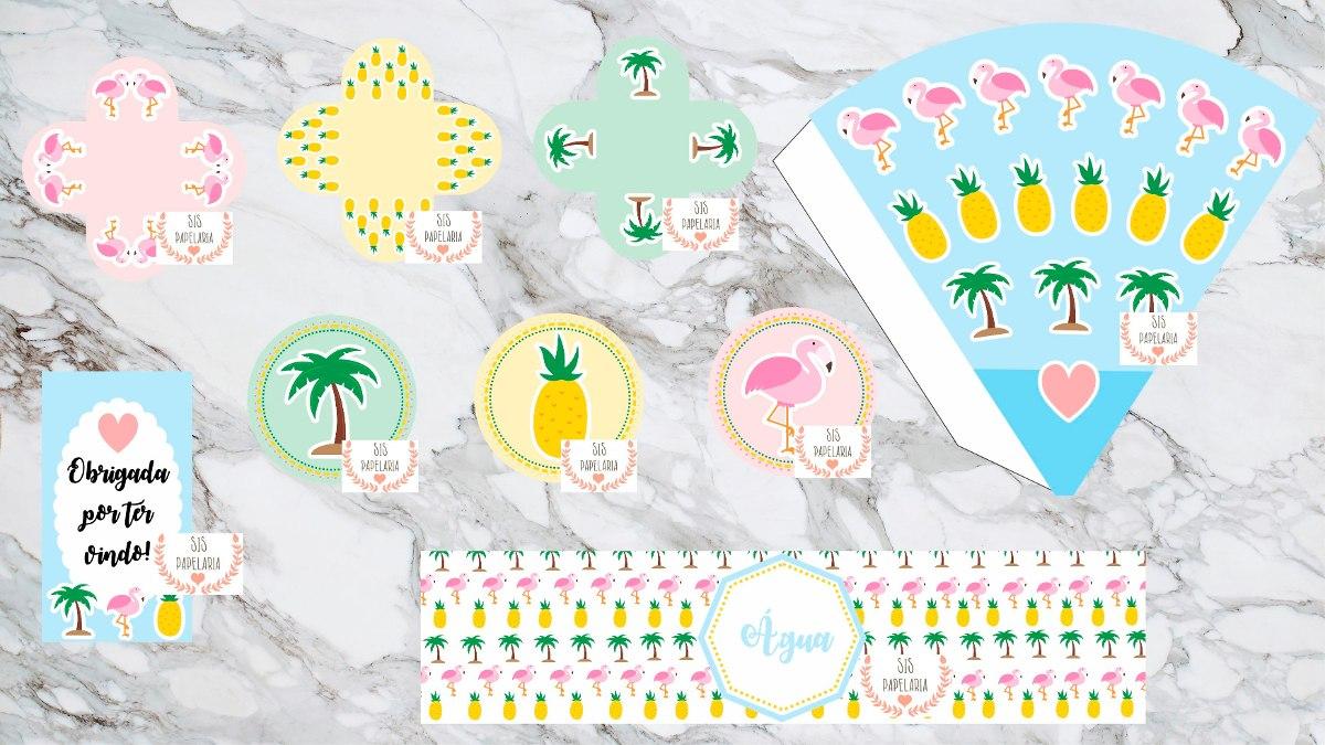 Kit Digital Festa Tropical Flamingo 8 Itens Personalizados R 65