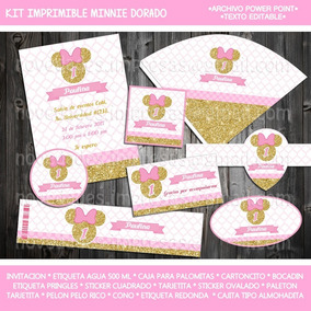 Kit Digital Minnie Rosa Y Dorado Invitación Etiquetas Candy