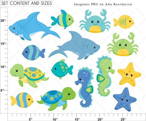 kit digital mundo marino baby peces fondo del mar animalitos