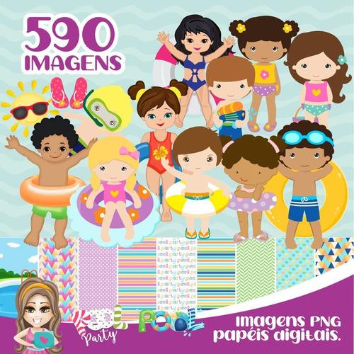 kit digital pool party - pack 590 imagens