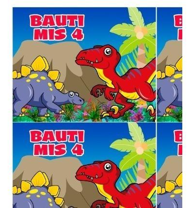 kit dinosaurios impreso invitaciones banderín stickers candy