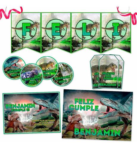 kit dinosaurios impreso invitaciones banderín stickers y más
