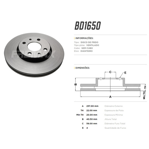 kit disco + pastilha freio fiat punto sporting 1.8 16v 2016
