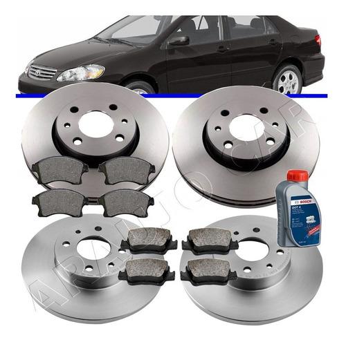 kit discos + pastilhas de freio corolla 2003 até 2008