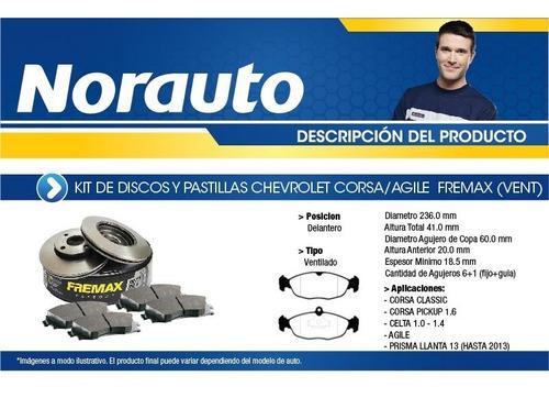 kit discos y pastillas fremax corsa-vent-k10