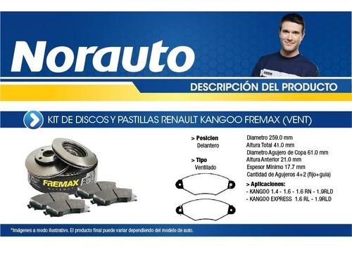 kit discos y pastillas fremax kangoo-vent-k7-