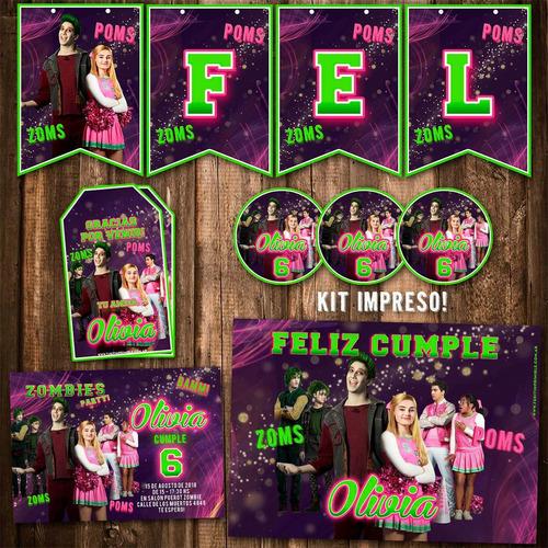 kit disney zombies invitaciones, stickers, banderín impreso!