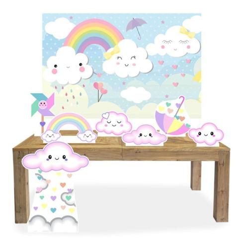 kit display chuva de benção amor menina com 07 pçs + lona g