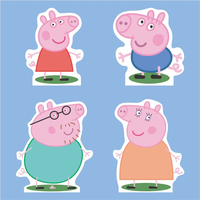 kit display de mesa família peppa pig (04 personagens)