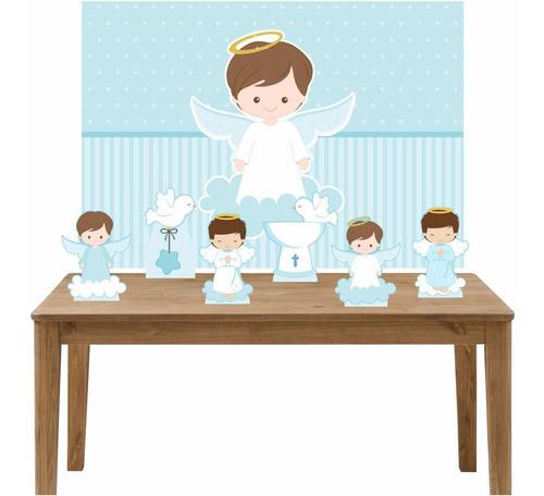 kit display mesa decoração batizado menino + painel 100x70