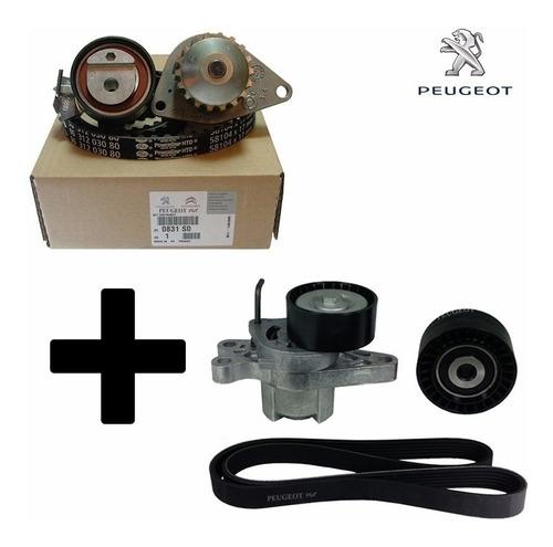 kit distribución + kit poly v original p/ peugeot 207 1.4