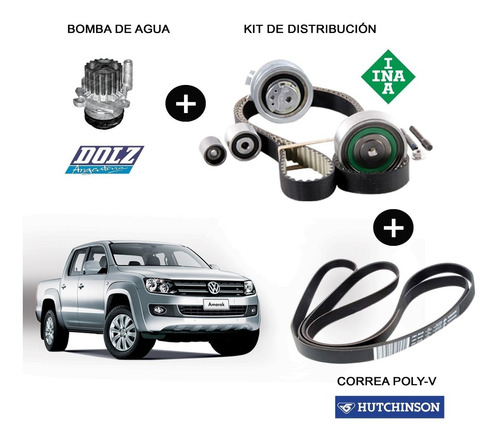kit distribucion original vw amarok + poly-v + bomba de agua