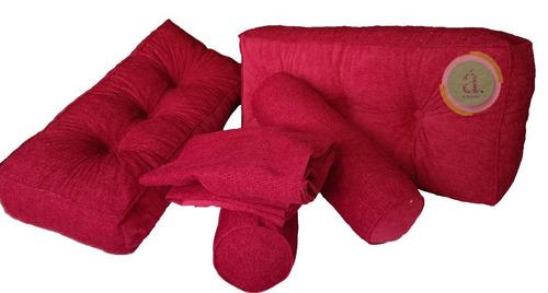 kit divan chenille completo con respaldos y caramelos.
