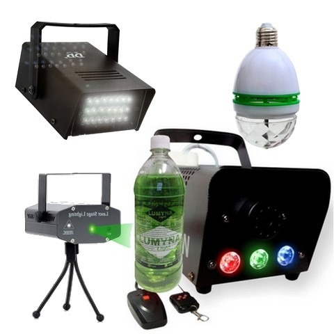 kit dj festa projetor máquina fumaça bola strobo 12x s/j