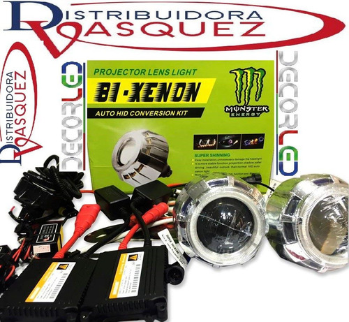 kit doble bi xenon 2 faros ojo d angel monster caja completa