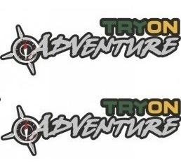 kit dois adesivos tryon adventure grande + brinde