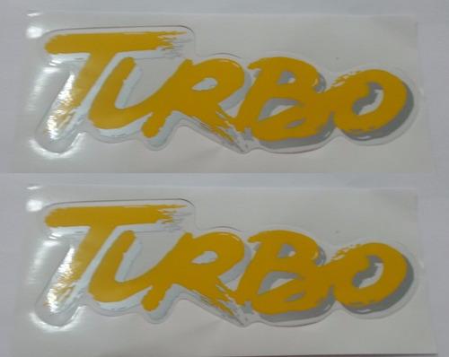 kit dois adesivos turbo lateral amarelo uno turbo + brinde