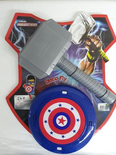 kit dos vingadores martelo  thor + escudo  capitão américa