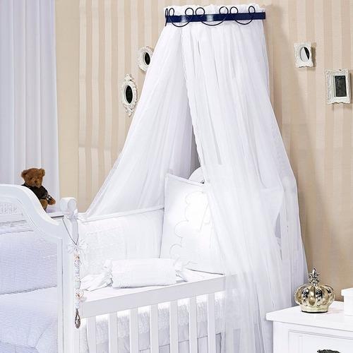 kit dossel parede quarto bebe arabesco inteiro branco + voil