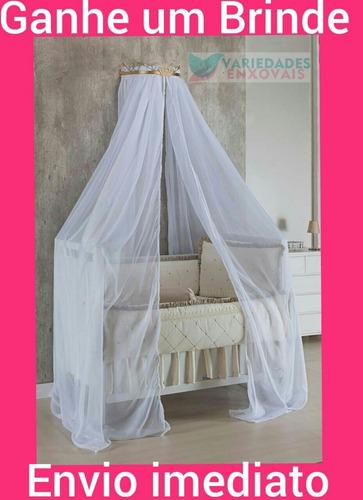 kit dossél parede quarto bebe todo branco mosquiteiro voil