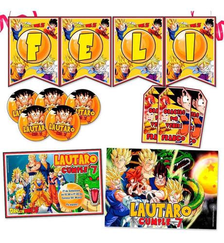 kit dragon ball super invitaciones banderin stickers impreso