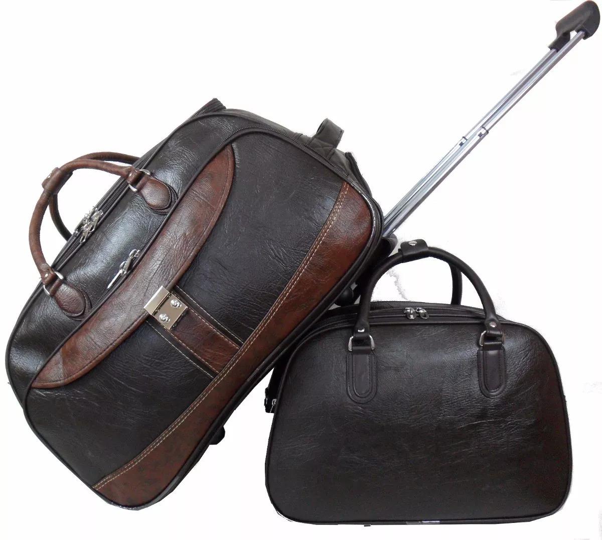 f17d07bf965d4 kit duas mala masculina bolsa viagem couro c  rodinhas. Carregando zoom.