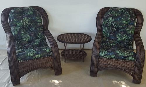 kit duas poltrona cadeira almofada rattan sintético junco