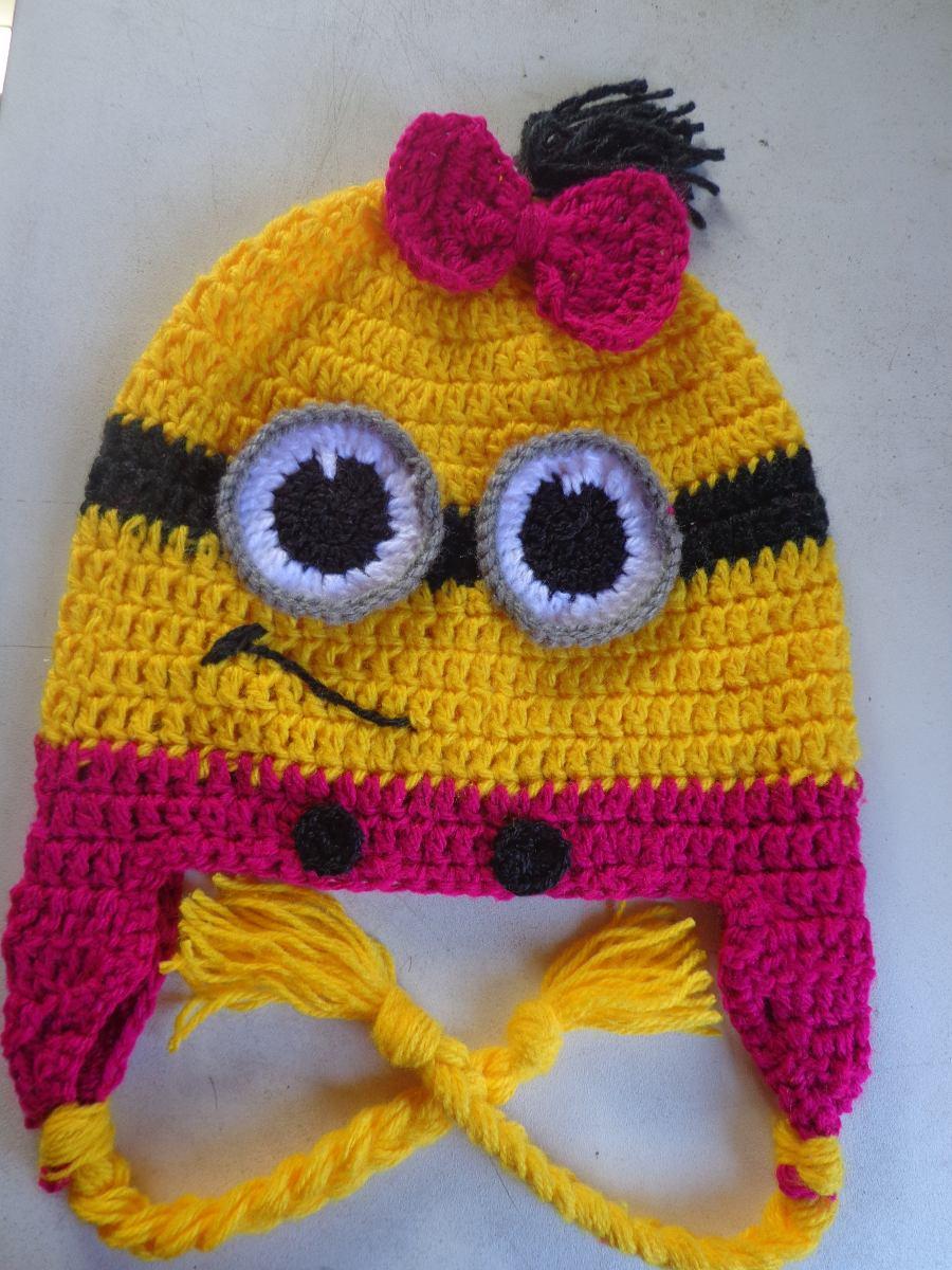 aba9045c99895 Kit Duas Toucas Gorro Minions Infantil Em Crochê Em Lã - R  58