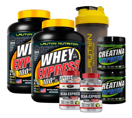 kit duplo whey protein + 2x bcaa + 2x creatina + coq lauton