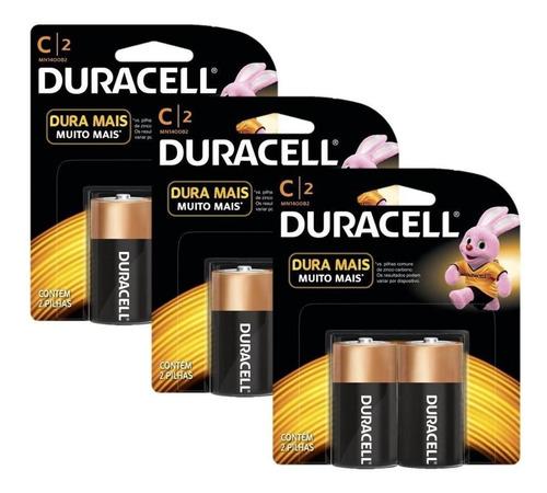 kit duracell duralock pilha alcalina c com 6 unidades