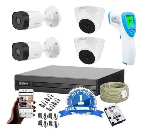 kit dvr 4ch + 4 cámaras de seguridad 2mp longse + termómetro