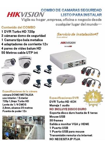 kit  dvr 4ch + 4 camaras domo y tipo bala hikvision 720p hd