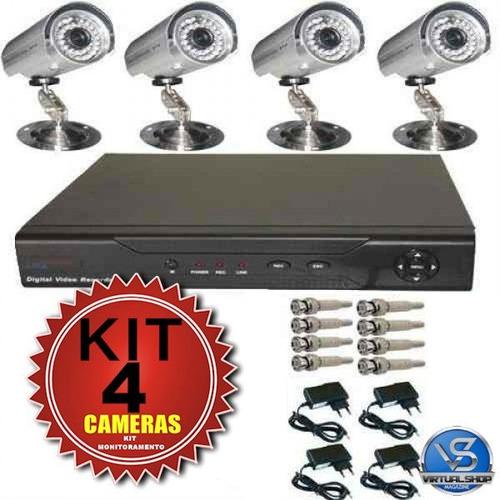 kit dvr 8 canais cftv + 4 câmera infravermelho com fonte blc