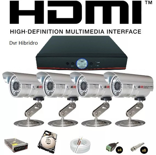 kit dvr 8 ch hdmi + 4 cam infra ccd sony + hd 1tb +80mts cab