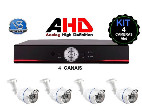 kit dvr ahd 4 canais full hd h264 hdmi + 4 câmeras ahd 1280p