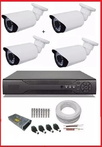 kit dvr ahd-m 8 canais + 4 câmeras ahd + acessórios