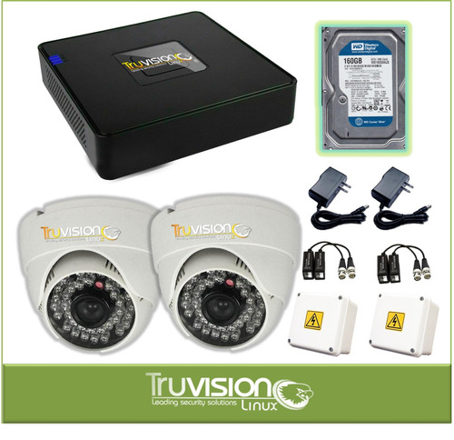 kit dvr de 4 ch hd + camaras seguridad hd +disco truvision