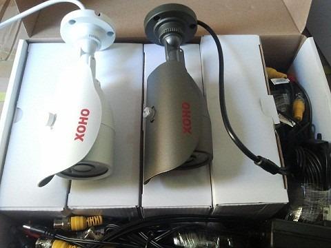 kit dvr de 4ch con 4 camaras de seguridad mas fuente y cable