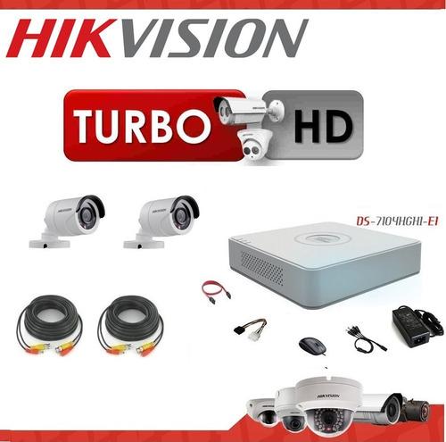 kit dvr hikvision 4 turbo hd + 2 cámaras + fuentes + cables