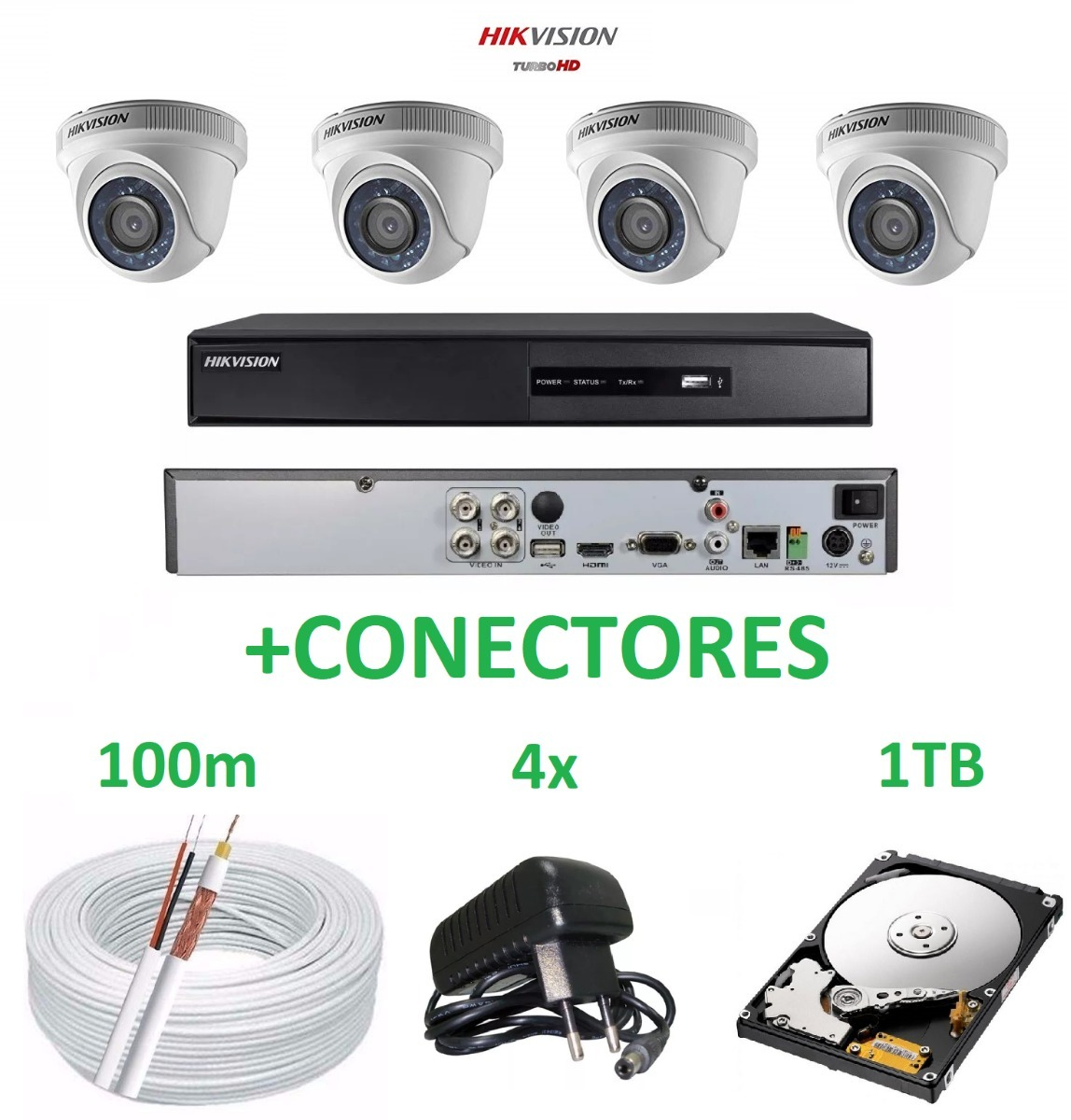 bbaf2433ac711 Kit Dvr Hikvision Séries Ds-7200 4 Câmera Dome Fonte Hd Cabo - R ...