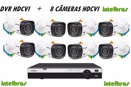 kit dvr intelbras hdcvi + 8 câmeras hdcvi intelbras + hd 1tb