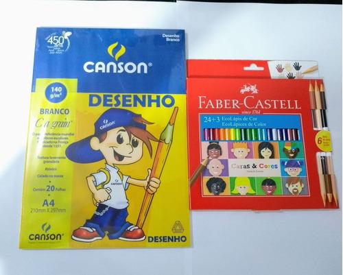 kit ecolapis 24+3 caras e cores faber castell + bl canson ca