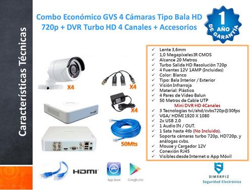 kit economico 4 camaras hd720p + dvr turbo hd + accesorios.