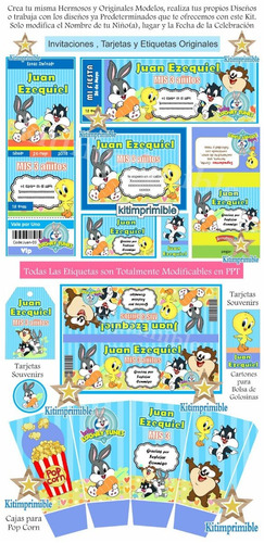 kit editable candy bar baby looney tunes bebes cotillon