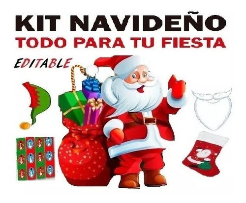 kit editable navidad banderines tarjetas